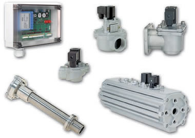 Valves and systems for dust filter technology
